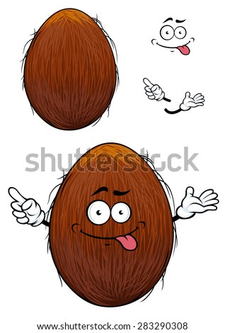 Cute happy cartoon coconut with a cheesy grin and its tongue protruding and arms with a second plain variant with no face and separate elements - stock vector