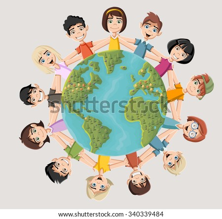 Cute happy cartoon kids around earth planet - stock vector