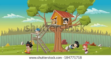 Cute happy cartoon kids playing in house tree on the backyard - stock vector