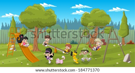 Cute happy cartoon kids playing in playground on the backyard - stock vector