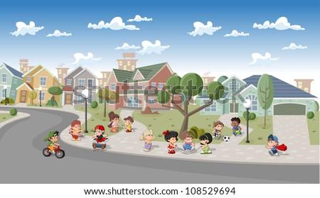 Cute happy cartoon kids playing in the street of a retro suburb neighborhood. Cartoon city. - stock vector