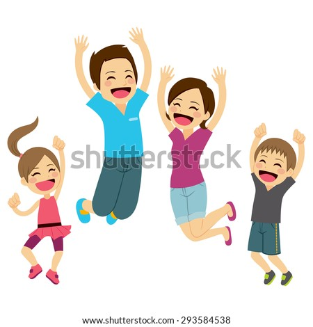 Cute happy family jumping together with arms up - stock vector