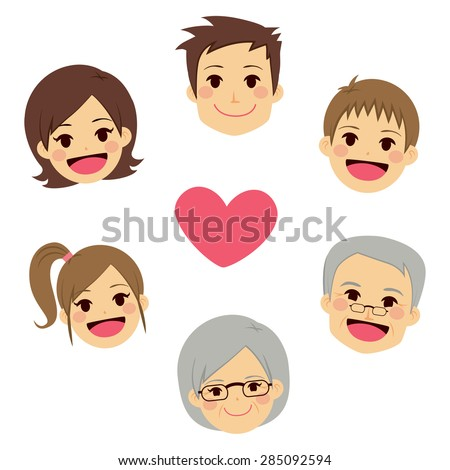 Cute happy family members faces making circle around heart - stock vector