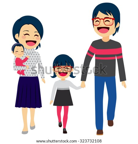 Cute happy four member Asian family walking together smiling - stock vector