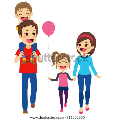Cute happy four member family walking together smiling - stock vector