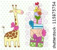 Cute happy Giraffe with a lot of gifts. Holiday greeting card. - stock vector