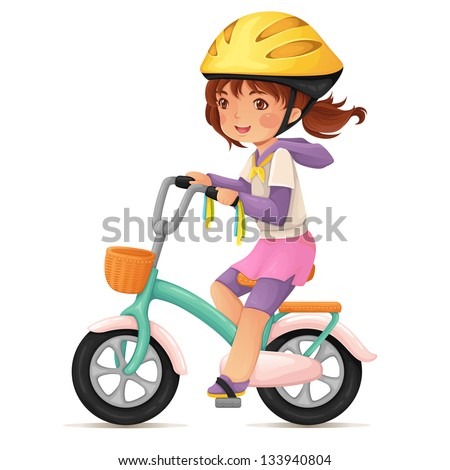 Cute happy girl in helmet riding a bike with a basket. - stock vector