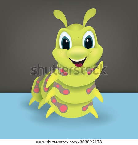 Cute happy green cartoon caterpillar with a lovely happy smile waving a leg at the viewer, vector illustration for kids - stock vector