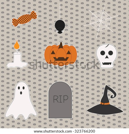 Cute Happy Halloween Clip Art set - candy, spider, spiderweb, candle, pumpkin, skull, Boo ghost, headstone and black witch hat - stock vector