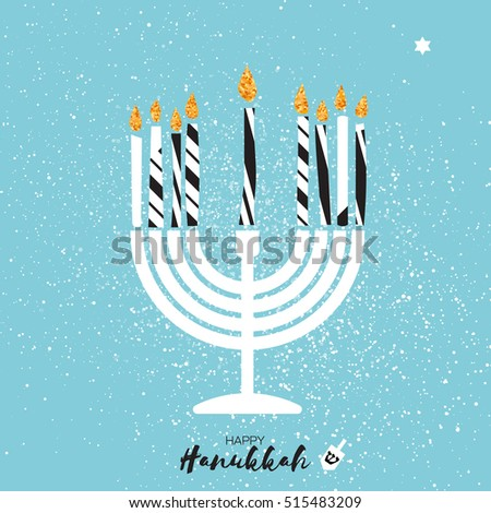Cute happy hanukkah greeting card gold stock vector hd royalty free cute happy hanukkah greeting card with gold glitter elements m4hsunfo