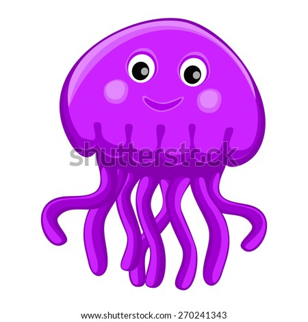 Cute happy jellyfish cartoon character Sea animal vector illustration Invertebrate animal sea fauna Medusa vector illustration
