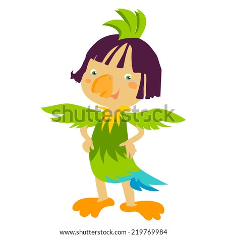 Cute, happy Kids, with costumes, outfits. Vector children. - stock vector