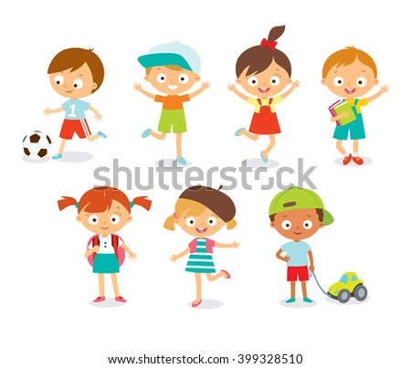 cute happy kids with toys jumping - stock vector