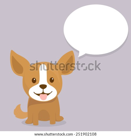 Cute happy puppy sits with text cloud, vector illustration - stock vector