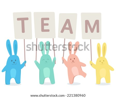 Cute happy rabbits searching for team. Vector illustration on white background - stock vector