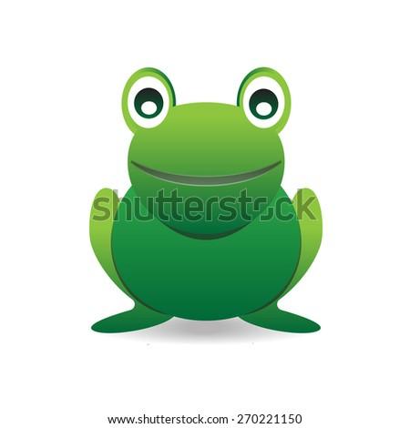 Cute happy smiling green cartoon frog  - stock vector