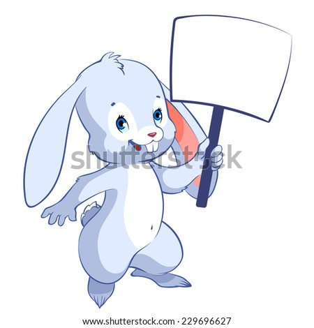 Cute hare with a banner in hand. Cartoon character. Vector clip-art illustration on a white background.