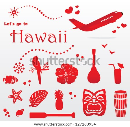 cute Hawaii travel set - stock vector