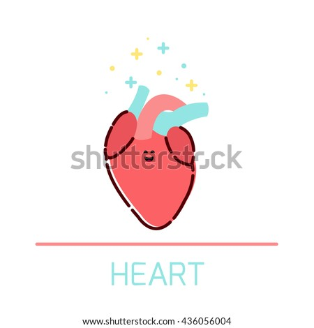 Cute healthy heart icon made in cartoon style. Heart cartoon character. Human body organs anatomy icon. Medical human internal organ symbol. Medical concept. Vector illustration. - stock vector