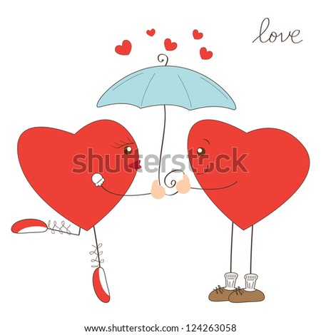Cute heart girl and heart boy under umbrella. Valentine day illustration
