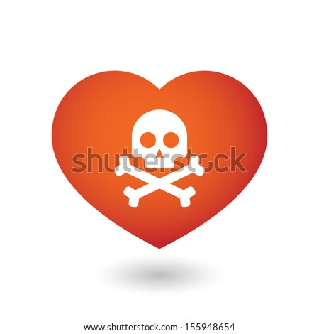 Cute heart illustration with conceptual icon - stock vector