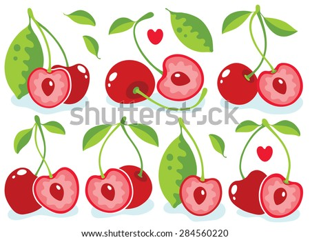 Cute heart-shaped cherries vector illustration - stock vector