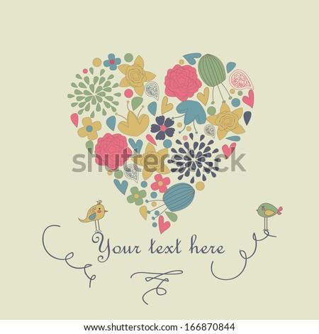 Cute heart with flowers and birds in cartoon style. Valentine card.