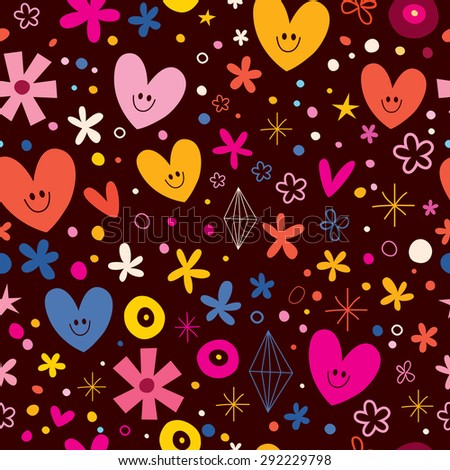 cute hearts and flowers love seamless pattern - stock vector