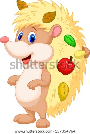 Cute hedgehog cartoon - stock vector