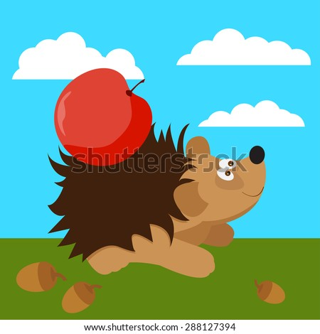 cute hedgehog with apple. Funny cartoon bright colored illustration for use in design for card, invitation, poster, banner, placard or billboard cover - stock vector