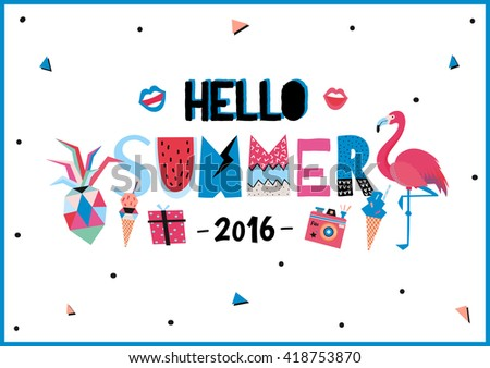 Charming Cute Hello Summer Poster With Trendy Holidays Elements And Typographic.  Scandinavian Style. Vector.