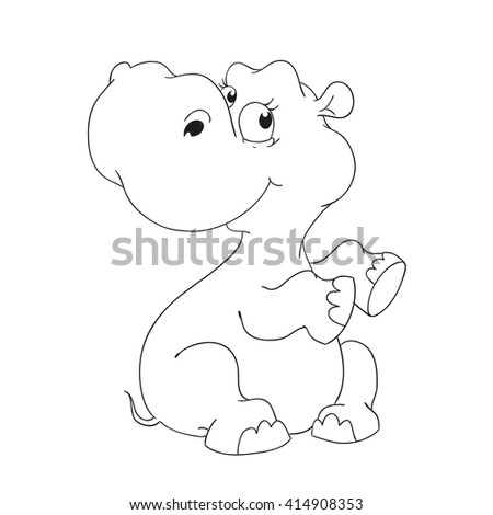 Cute hippo character. Coloring book