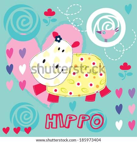 cute hippo girl with bird vector illustration - stock vector