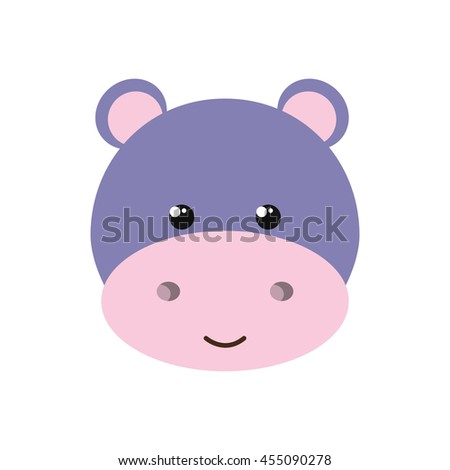 cute hippo isolated icon design, vector illustration  graphic