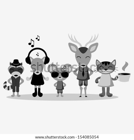Cute hipster animals in clothes - stock vector