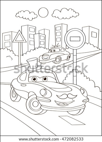 Cute Hipster Car In City, Coloring Page. Coloring Book Outdoor Sport Theme.  Funny