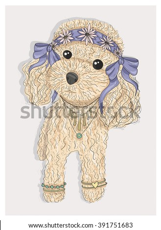 Cute hipster dog. Fashion illustration with poodle. poodle, poodle, poodle, poodle, poodle, poodle, poodle, poodle, poodle, poodle, poodle, poodle, poodle, poodle, poodle, poodle, poodle, poodle,