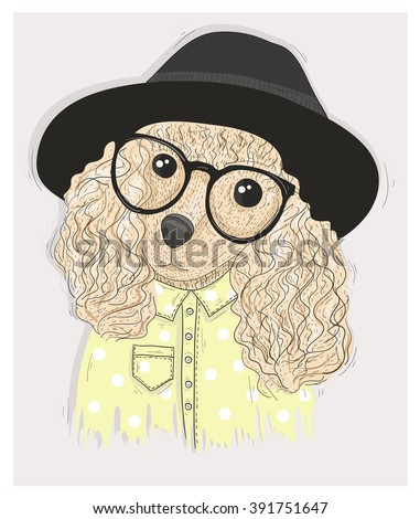 Cute hipster dog with glasses. Fashion illustration with poodle, poodle, poodle, poodle, poodle, poodle, poodle, poodle, poodle, poodle, poodle, poodle, poodle, poodle, poodle, poodle, poodle, poodle