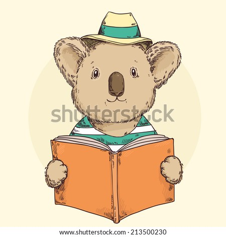Cute hipster koala in hat reading a book - stock vector