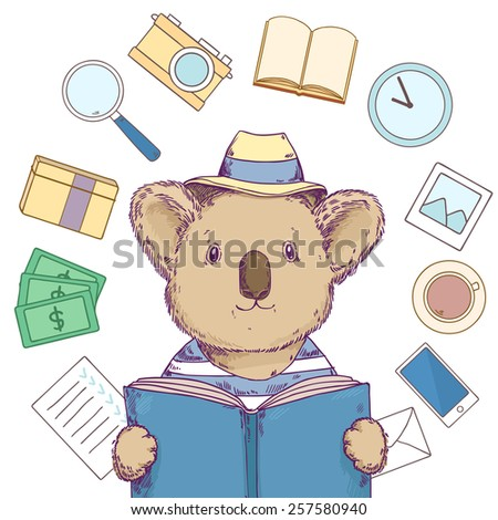 Cute hipster koala in hat reading a book, thinking about traveling, goals, freelancing, dreams and work time. Lifestyle concept. Vector illustration - stock vector