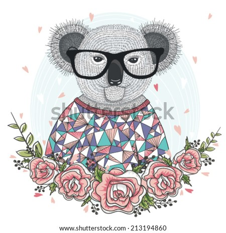 Cute hipster koala with glasses and flower frame. - stock vector