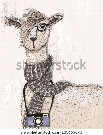 Cute hipster lama with photo camera, glasses and scarf - stock vector