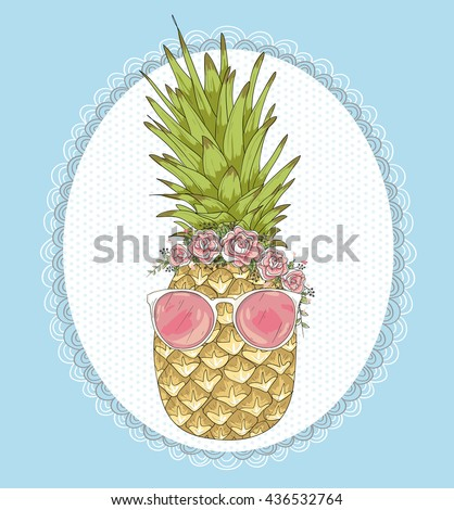 Cute hipster pineapple with sunglasses and flower crown. summer background. - stock vector