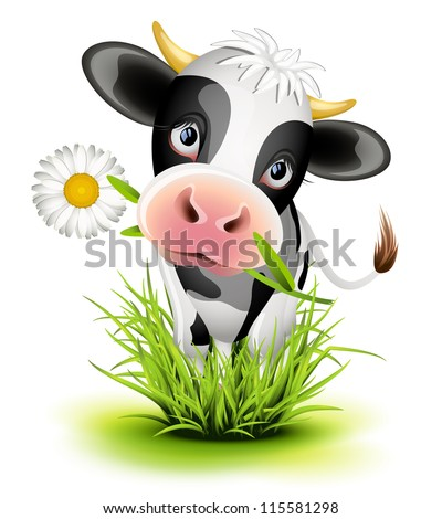Cute Holstein cow in green grass - stock vector