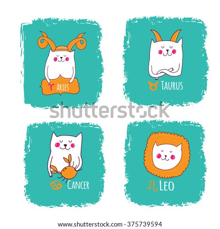 cute horoscope with cats, Aries,taurus,cancer,leo - stock vector