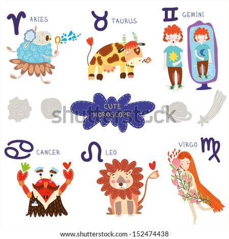 Cute horoscope. Zodiac set.Aries, taurus, gemini,cancer,leo,v irgo - stock vector