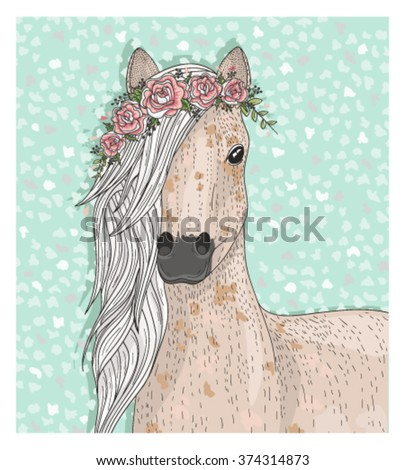 Cute horse with flowers. Fairytale background . horse, horse, horse, horse, horse, horse, horse, horse, horse, horse, horse, horse, horse, horse, horse, horse, horse, horse, horse, horse, horse, horse
