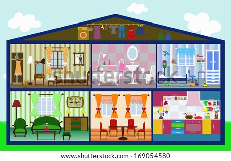 cute house in a cut. vector illustration - stock vector