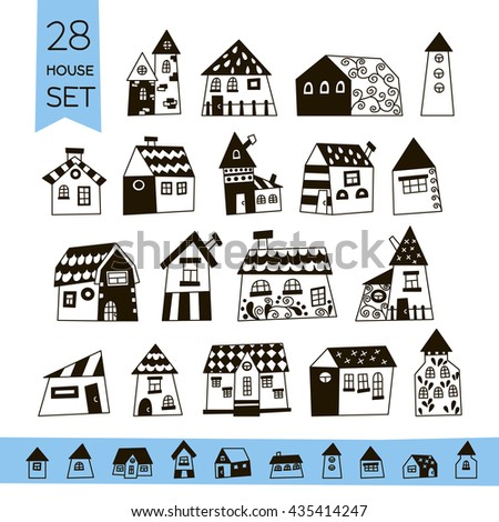 Cute House Set. Hand drawn house. It can be used as - logo, pictogram, icon, infographic element.