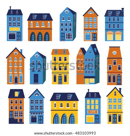 Cute houses colorful set